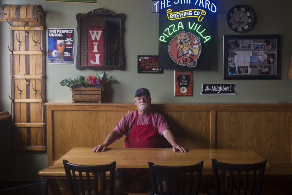 Phil Regios, above, and his brother Tony plan to retire after selling the building housing the Pizza Villa restaurant to Maine Med, scheduled to be finalized next March. The Congress Street institution was opened by Regios' father, Mike, in 1965, and Regios took it over in 1975.
