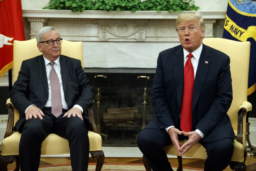 President Trump meets with European Commission president Jean-Claude Juncker in the Oval Office of the White House on Wednesday in Washington.