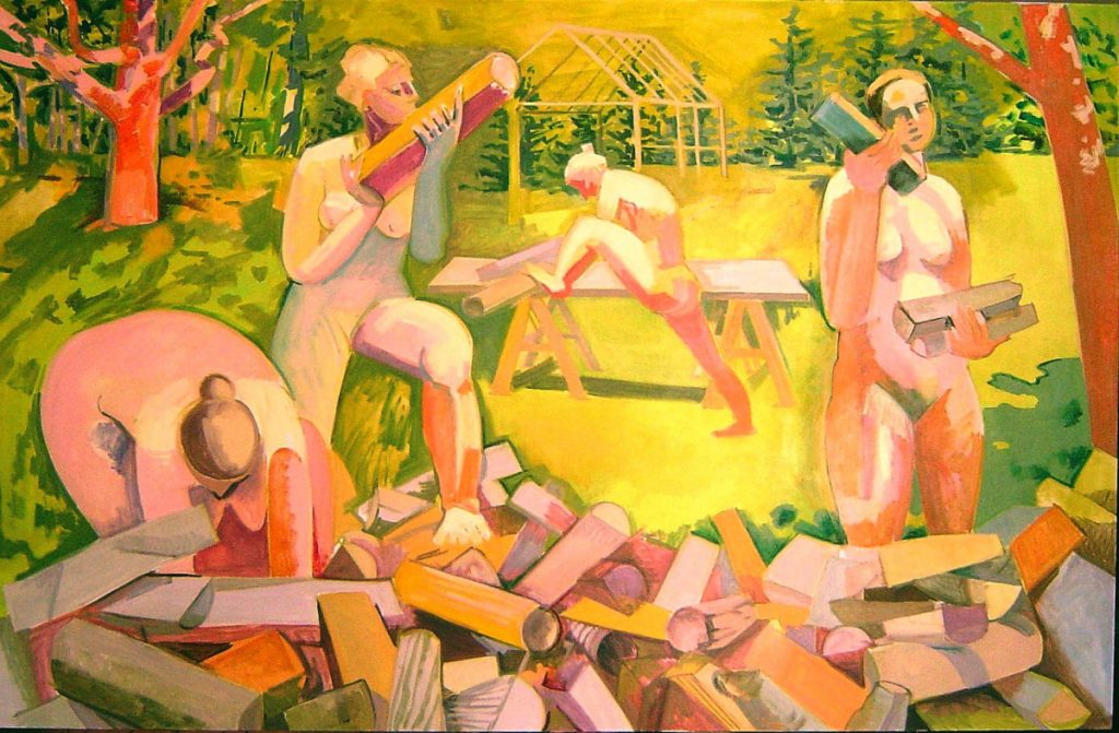 """Four Nudes and Woodpile 2"" 2001 oil on linen, 44 x 68 inches, by Lois Dodd"