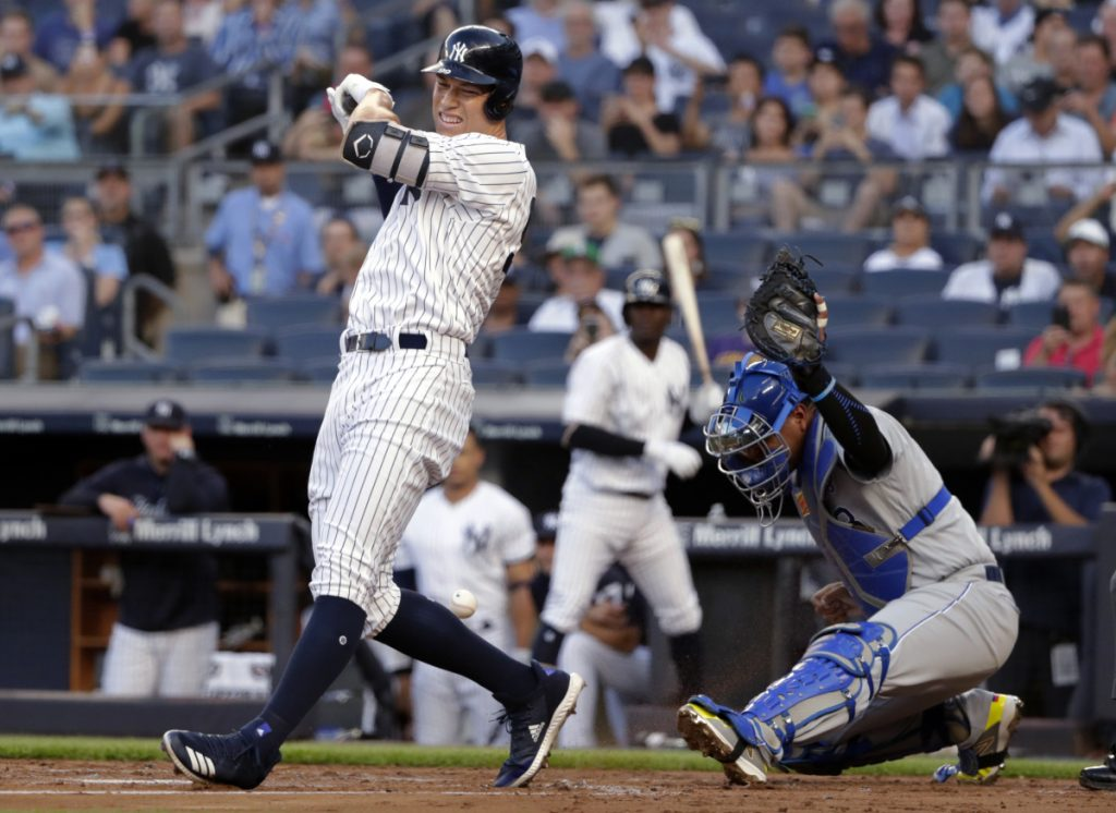 Aaron Judge of the Yankees reacts after being hit by a pitch in the first inning Thursday night in New York. Judge left the game and had an MRI.