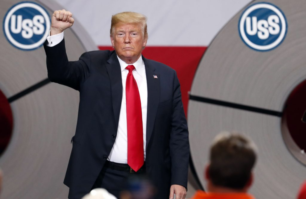 President Trump appears last week at a U.S. Steel plant in Granite City, Ill. Trump has often singled out the steel sector as an industry that needs help through tariffs.