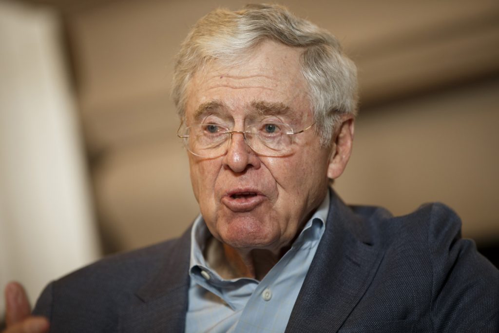 """Charles Koch, shown in 2015, told donors gathered in Colorado Springs, Colo., that """"we're just getting started"""" and """"I assure you, I am not getting weak in the knees."""""""