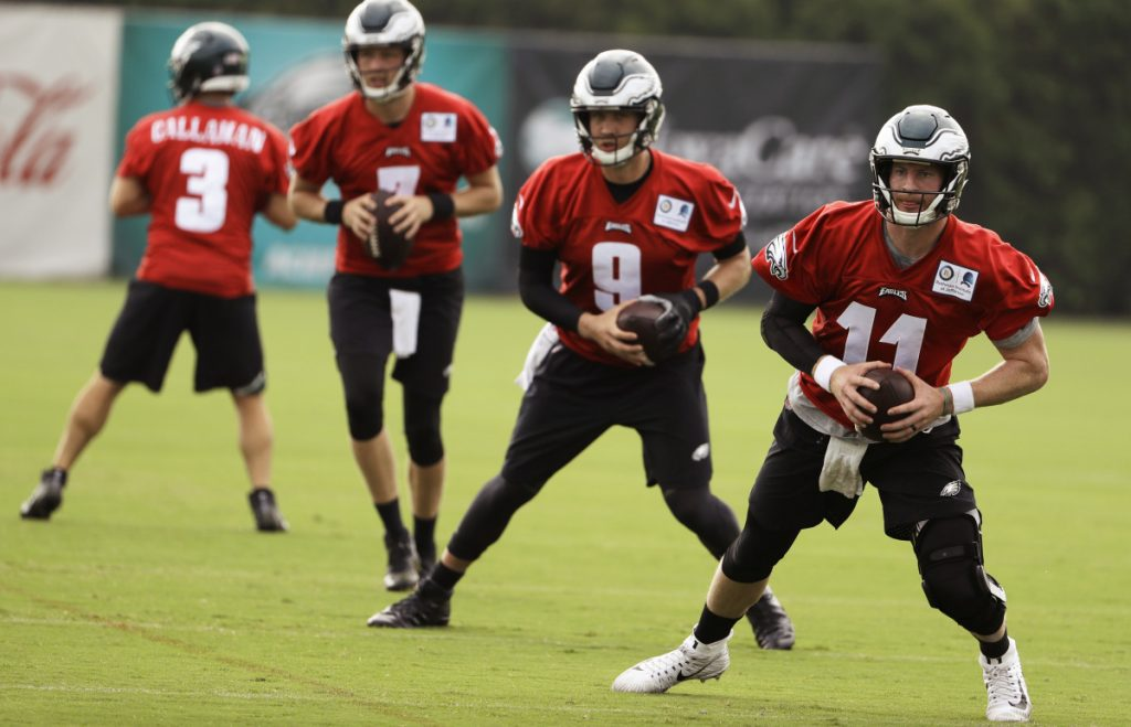 If he is healthy, Carson Wentz, right, will be the Eagles' starting quarterback in Week 1. Philadelphia has a good backup plan in Nick Foles, 9, the Super Bowl MVP.