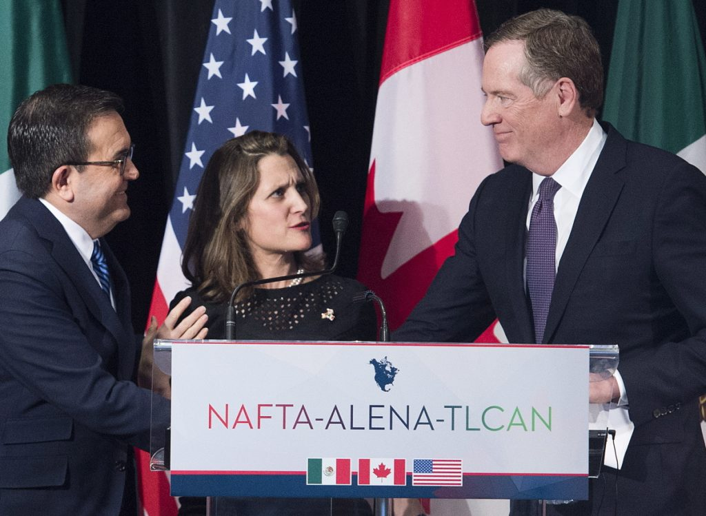 Canadian Minister of Foreign Affairs Chrystia Freeland with U.S. trade representative Robert Lighthizer, right, and Mexico's Secretary of Economy Ildefonso Guajardo Villarreal in Montreal on Jan. 29. Lighthizer is focusing on bilateral negotiations with Mexico.