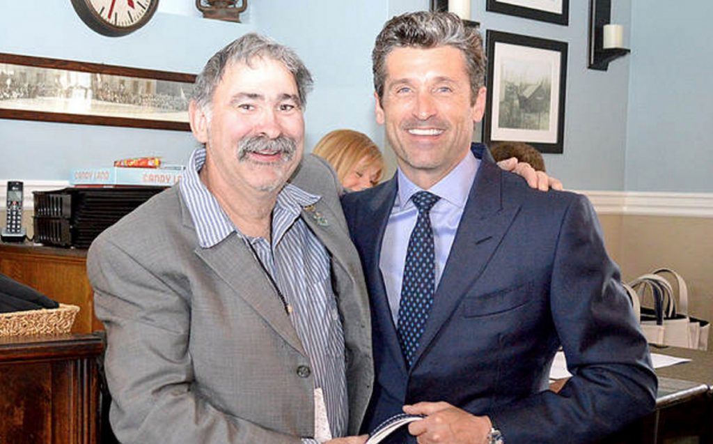 Actor Patrick Dempsey, right, stands last year with fundraiser David Gervais of Lewiston This year fundraisers will have an added incentive: a chance to dine with Dempsey at his home in Kennebunk- port.