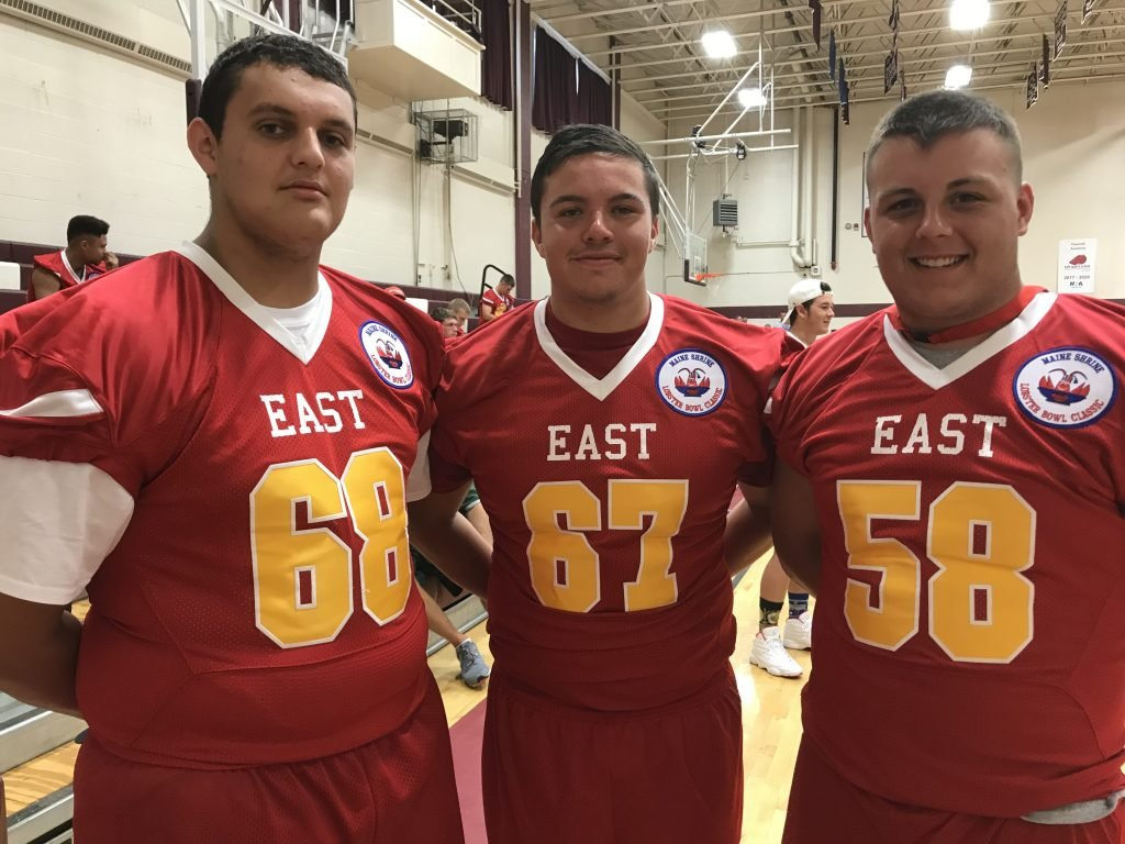 Brunswick High graduates, from left, Elijah Gagnon, Max Friedman and Bailey Pelletier will play in Saturday's game.