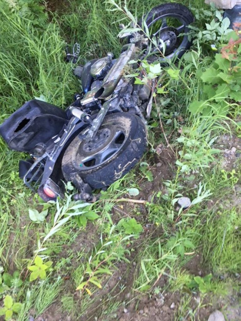 Anson resident David Gorey spent 11 hours lying injured outdoors in Anson after failing to follow a curve on Pease Hill Road while riding this Harley-Davidson motorcycle and crashing into the woods, according to police.