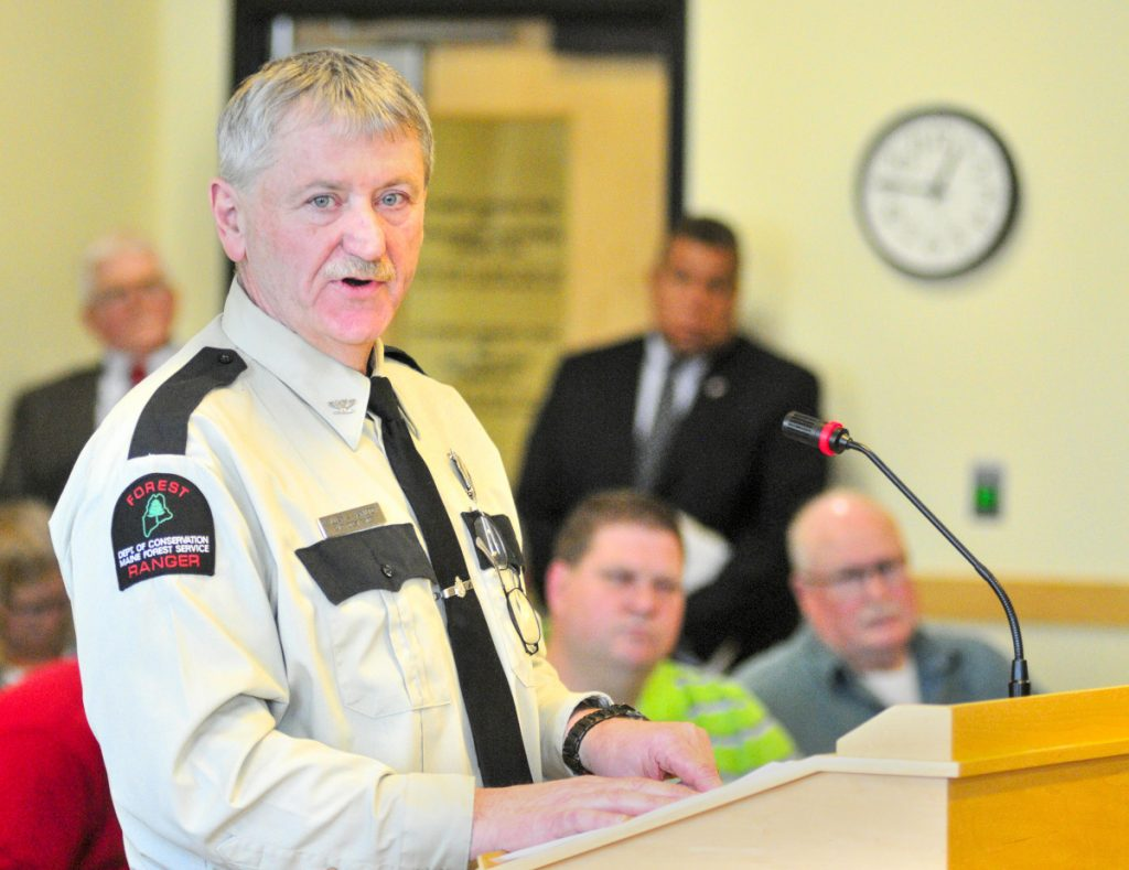Chief Forest Ranger William Hamilton testifies Feb. 8, 2018, during a State House hearing on L.D. 1809, a measure that lawmakers said will make even more clear that they intended that state residents have the option to get free online burn permits from private, third party systems.