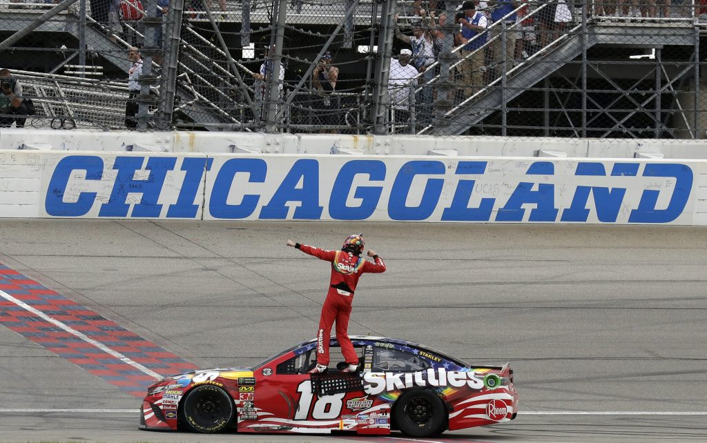 Kyle Busch celebrates after winning a NASCAR Cup Series race Sunday at Chicagoland Speedway in Joliet, Ill.
