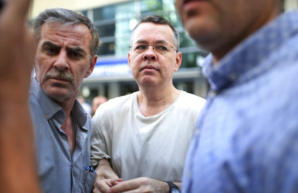 Andrew Craig Brunson, an evangelical pastor from Black Mountain, North Carolina, arrives at his house in Izmir, Turkey, on Wednesday.