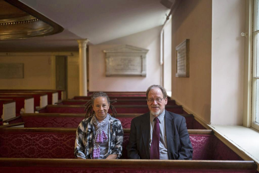 Marcy Makinen, a member of the church's Racial Justice Team, and Angus Ferguson, coordinator of Rally4Justice at First Parish Church, are involved in discussions about memorials to a founding pastor from the 1700s, the Rev. Thomas Smith.