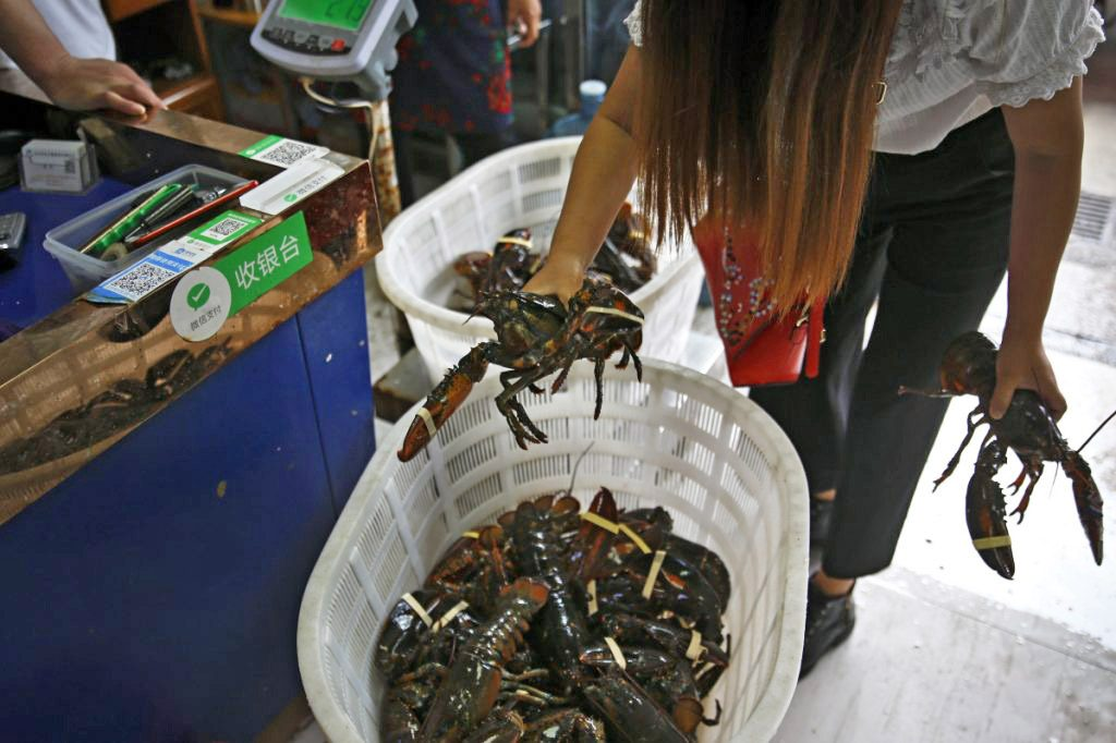 A dealer buys imported lobsters from a wholesaler at the Jingshen seafood market in Beijing.