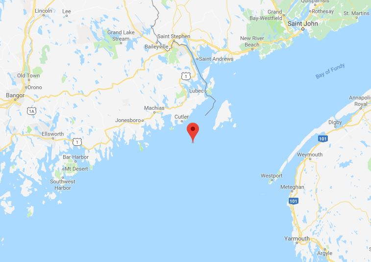 Location of the disputed Machias Seal Island, claimed by both Canada and the United States.