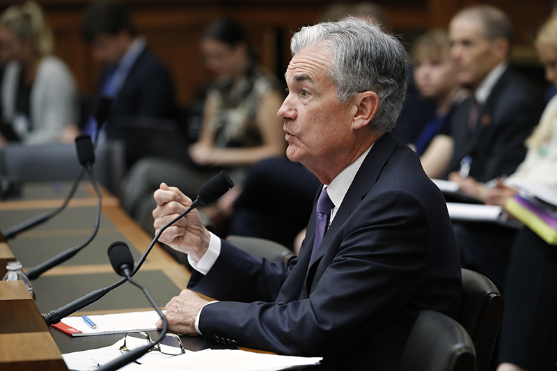 Federal Reserve Board Chair Jerome Powell testifies during a House Committee on Financial Services hearing on Wednesday.