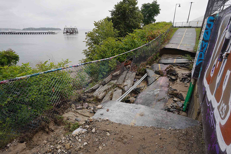 This section of Portland's Eastern Prom Trail was washed away on July 26.