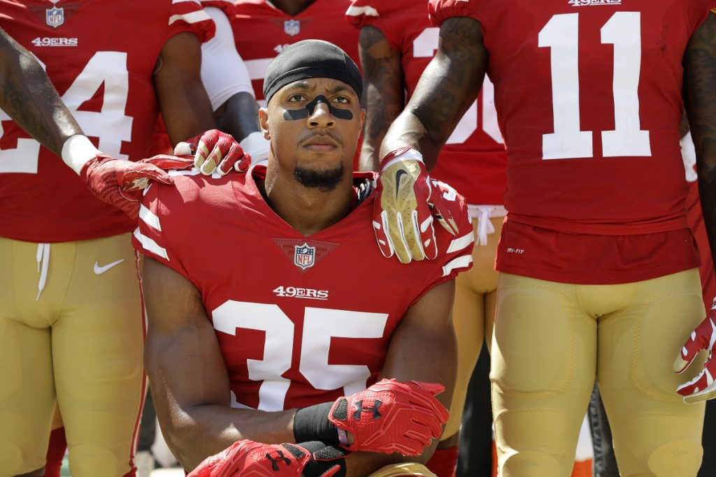 Safety Eric Reid, one of the players who knelt during the national anthem last season to protest police brutality and racial inequality, will work out for the Titans on Friday after Johnathan Cyprien tore his left ACL and is out for the season.