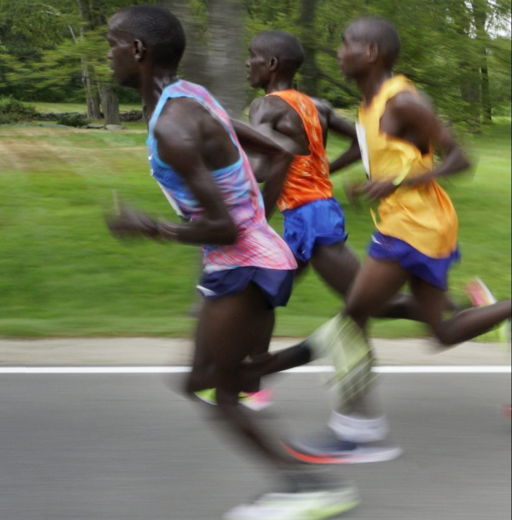 The lead pack in last year's race included, from left, Stephen Sambu, Leonard Kiplimo-Barsoton and Stephen Kosgei-Kibet, all of Kenya. Kosgei-Kibet won the race. This year, three Kenyans and four Ethiopians in the race represent the smallest contingent of African runners in Beach to Beacon history.
