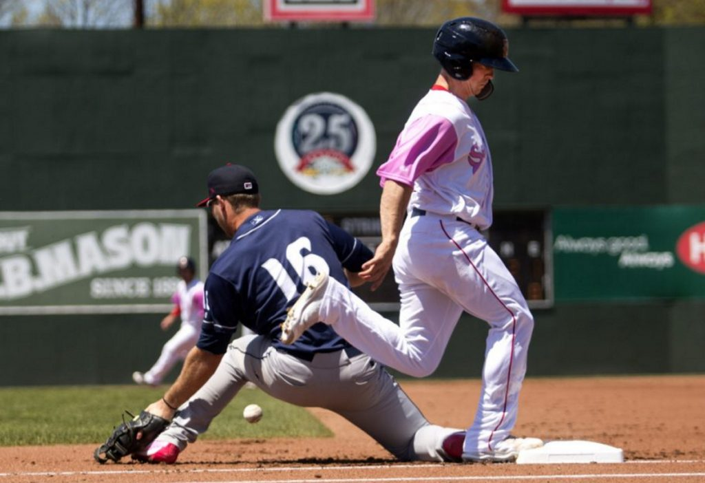 Tony Renda, who was crossing first base at Hadlock Field this season, crossed the plate Sunday night with the winning run for Boston. Renda is a huge Tom Brady fan – they went to the same California high school.