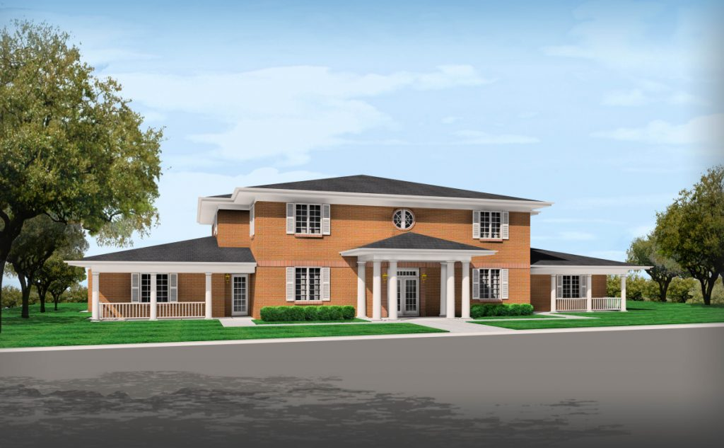 An artist's rendering shows what the Fisher House at Togus will look like once complete. The facility will provide lodging for families of veterans there at Togus.