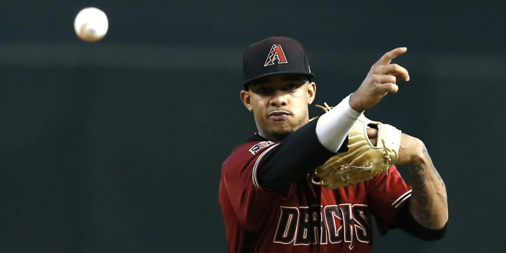 Diamondbacks shortstop Ketel Marte makes a throw during the first inning of Arizona's 6-0 victory over the Phillies on Wednesday in Phoenix.