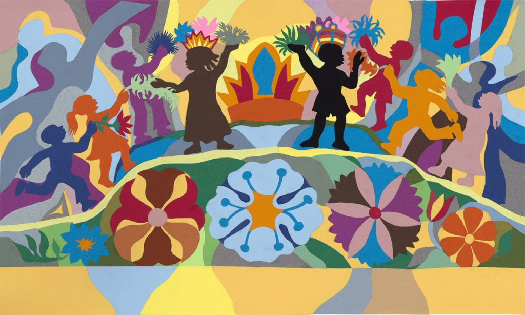 """Oh, When the Children Sing in Peace,"" 2006, collage of cut colored paper on paper, from ""Let It Shine: Three Favorite Spirituals,"" 12 by 20  inches."