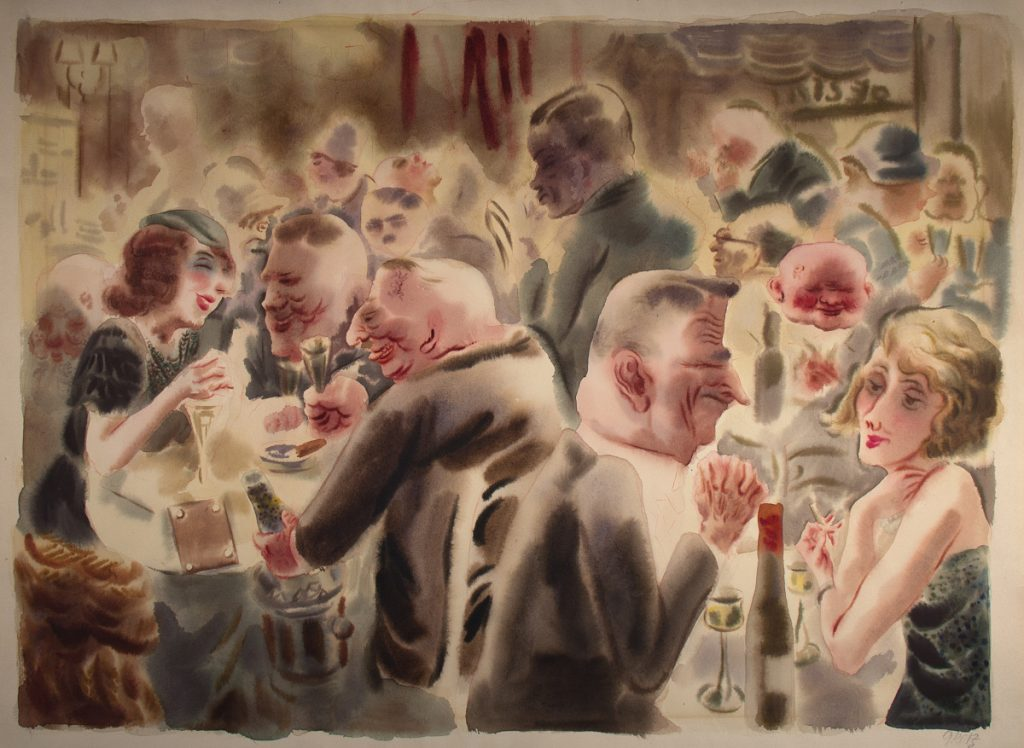 "George Grosz, ""No. 73 Restaurant,"" c. 1925, watercolor on paper, 18   x 25  inches."