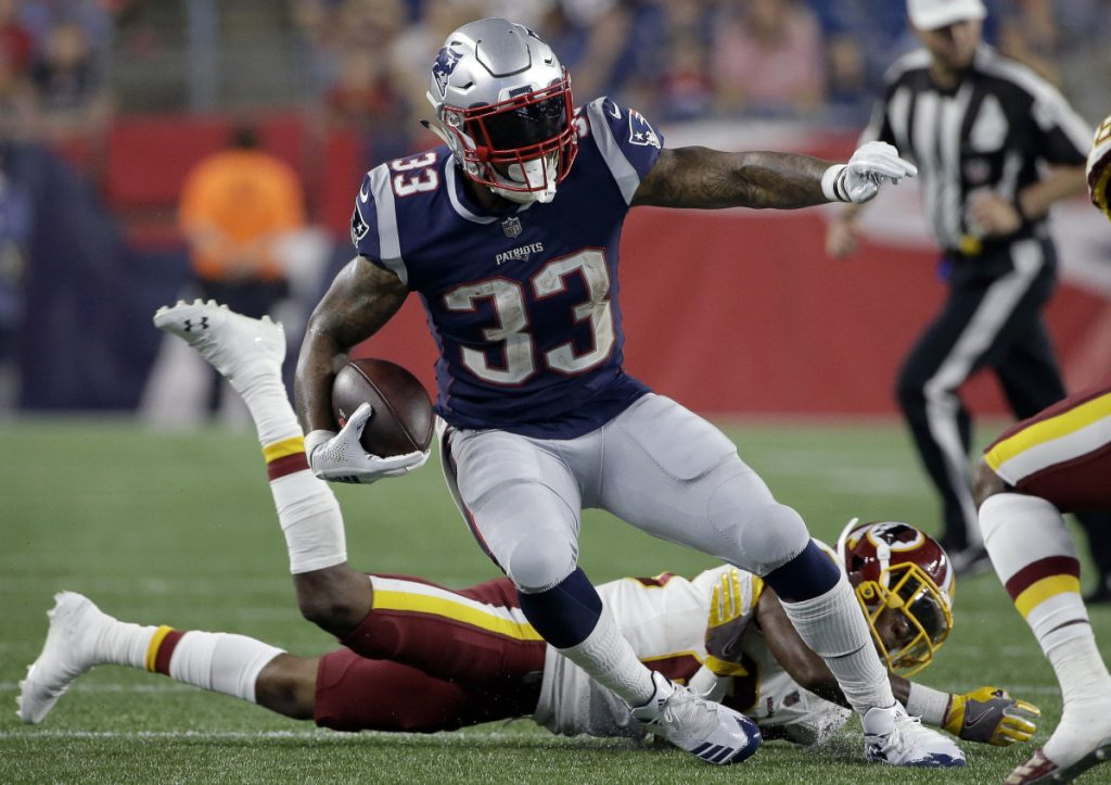 Jeremy Hill gained 51 yards on 11 carries and added 14 yards on two receptions Thursday night, helping to ignite the offense as the New England Patriots defeated Washington in their exhibition opener. Hill has lost about 10 pounds since arriving from the Cincinnati Bengals.