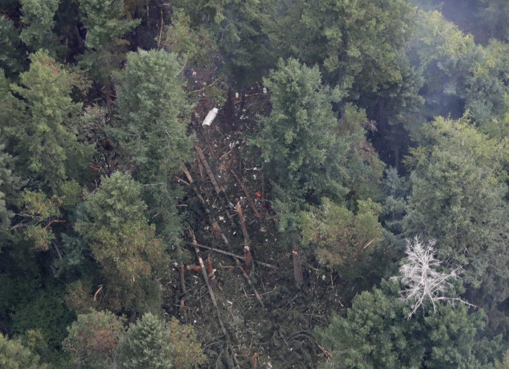 The site on Ketron Island in Washington state where an empty Horizon Air turboprop plane crashed Friday after it was stolen from Sea-Tac International Airport is seen from the air Saturday near Steilacoom, Wash. Investigators were working to find out how an airline employee stole the plane and crashed it after being chased by military jets that were quickly scrambled to intercept the aircraft.