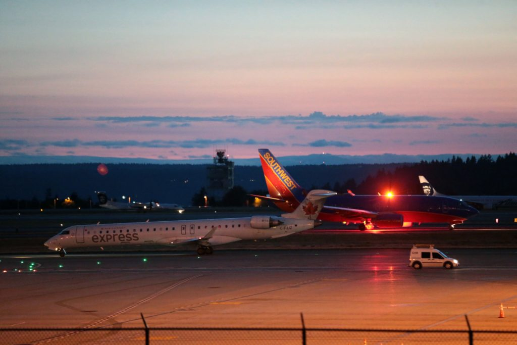 Planes sit on the tarmac at Sea-Tac International Airport. All service was halted after a Horizon Air plane was stolen Friday night. An airline employee stole the plane without any passengers and took off from Sea-Tac International Airport in Washington state on Friday night before crashing near Ketron Island, officials said.