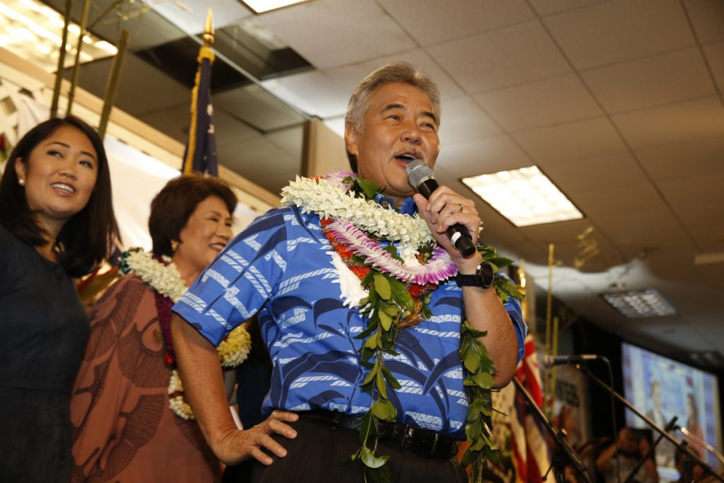 Hawaii Gov. David Ige speaks to supporters at his campaign headquarters, Saturday night in Honolulu.