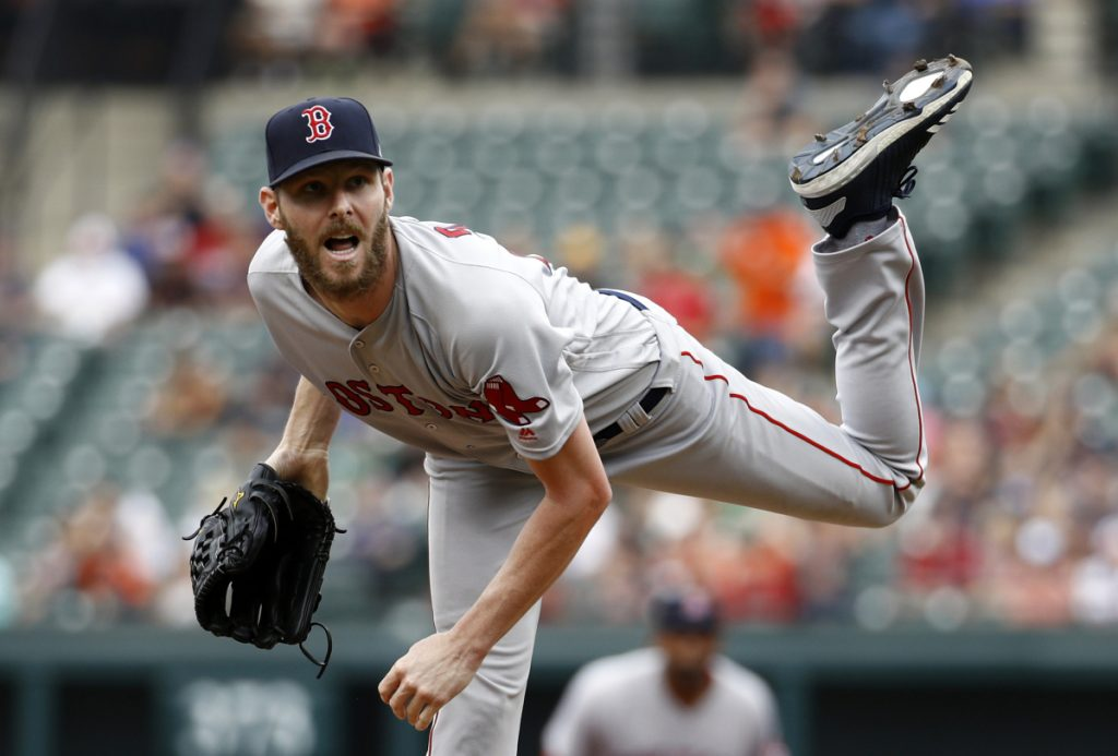 Red Sox starting pitcher Chris Sale pitched five scoreless innings, striking out 12 and allowing just one hit and Boston won 4-1 on Sunday in Baltimore.