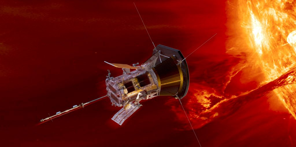 An illustration of the sun-bound Parker Solar Probe that was launched Sunday from Cape Canaveral.