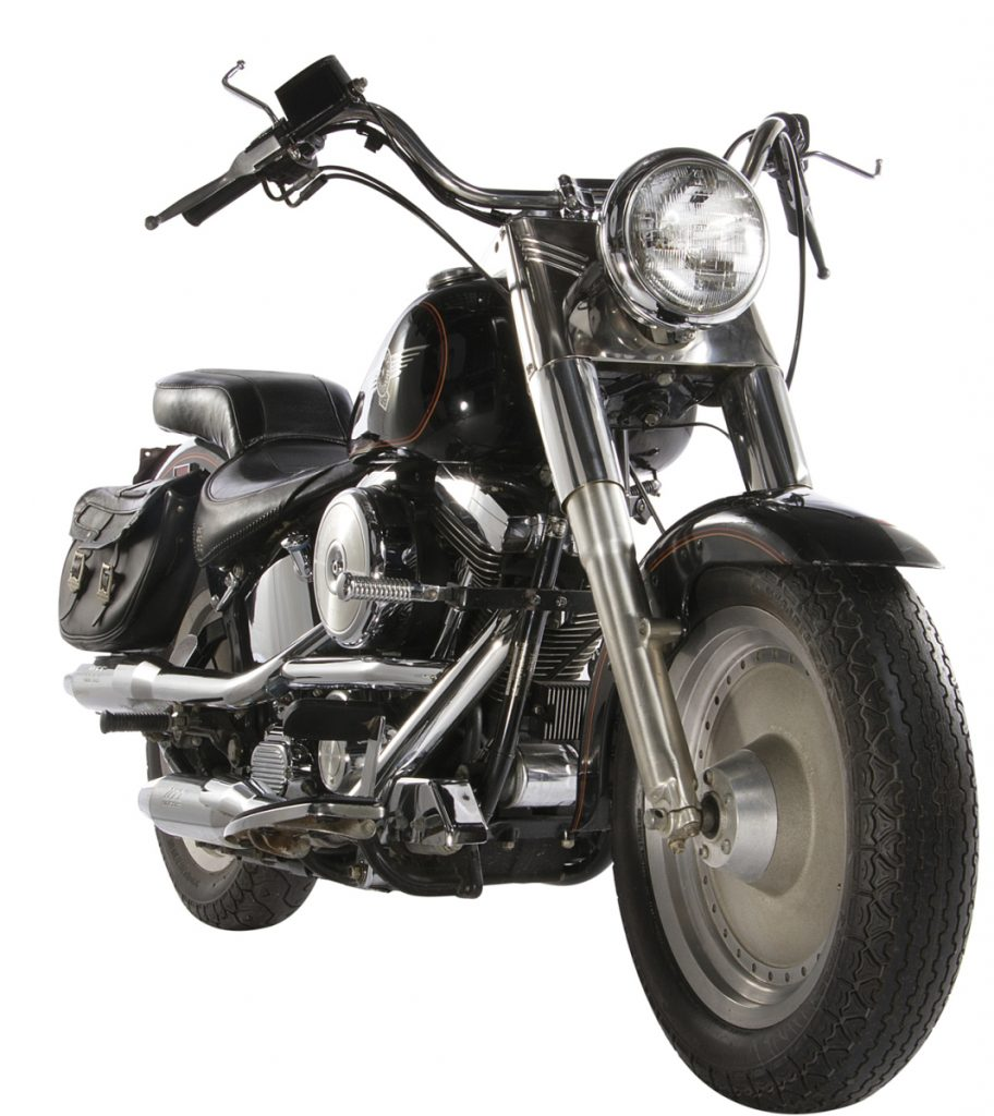 "This image released by Profiles in History shows a 1991 Harley-Davidson Fat Boy motorcycle used in the film, ""Terminator 2: Judgement Day,"" which is among the items from Hollywood films up for auction in June. (Profiles in History via AP)"