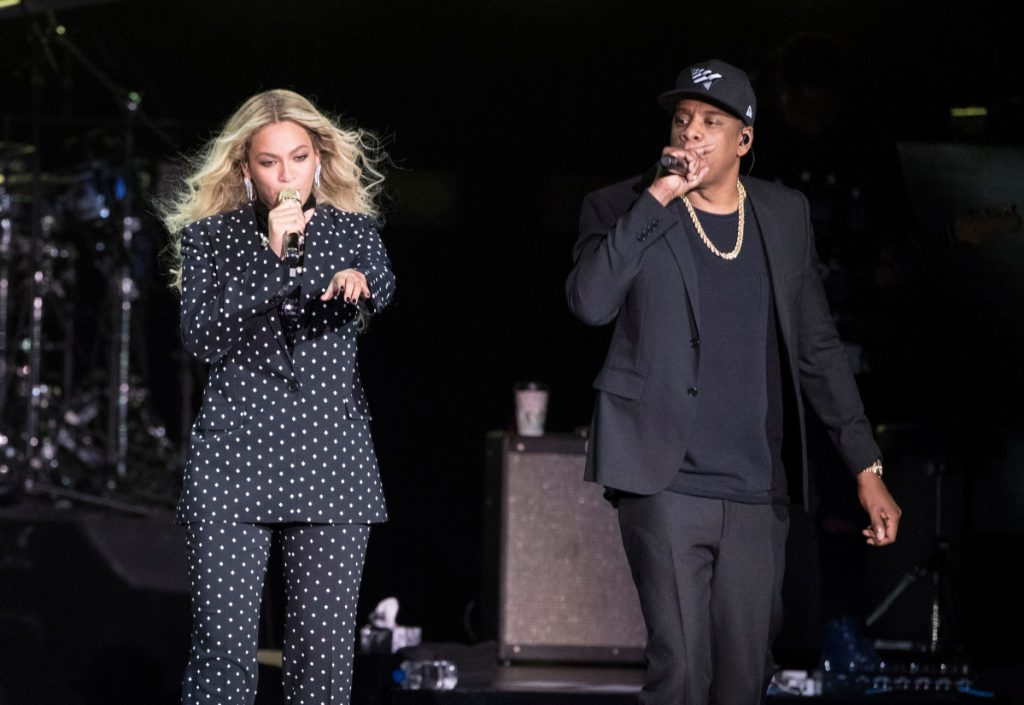 Beyonce and Jay-Z perform during a Clinton campaign rally in Cleveland in Nov. 2016. On Monday night, Beyonce dedicated her performance with husband, Jay-Z to the Queen of Soul, drawing a thunderous roar from Aretha Franklin's hometown of Detroit.