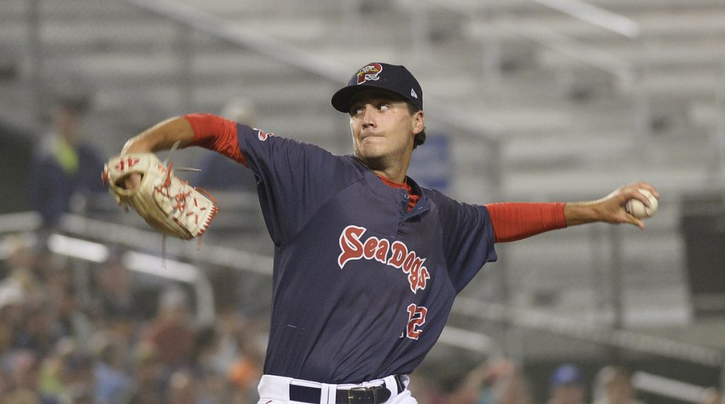 Portland starting pitcher Kyle Hart pitches pitched seven scoreless innings, allowing six hits, while striking out four and walking one in the Sea Dogs' 5-2 win in 10 innings against the Trenton Thunder on Tuesday at Hadlock Field.