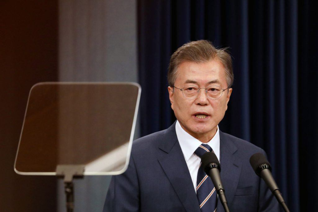 South Korean President Moon Jae-in at a news conference at the presidential Blue House in Seoul, South Korea, on May 27, 2018. MUST CREDIT: Bloomberg photo by SeongJoon Cho.