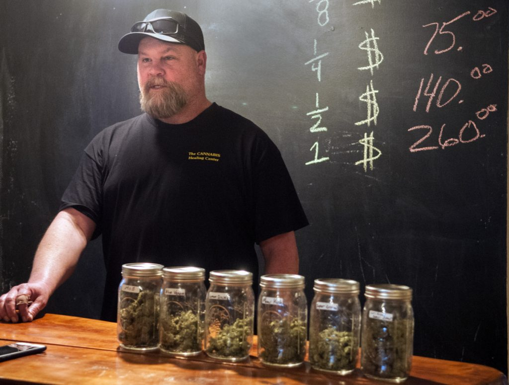 Derek Wilson talks about his business, The Cannabis Healing Center, in 2017 in Hallowell.