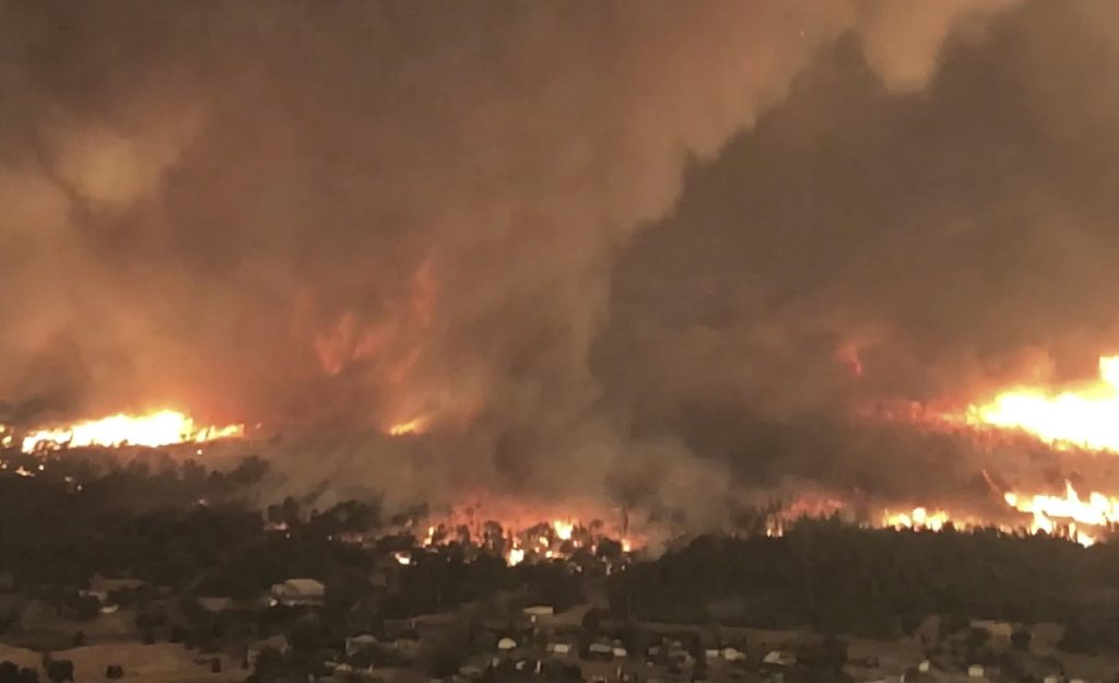 This July 26 image from video shows a fire tornado over Lake Keswick Estates near Redding, Calif. In the history of California wildfires there has never been anything like it: A tornado filled with fire, the size of three football fields.