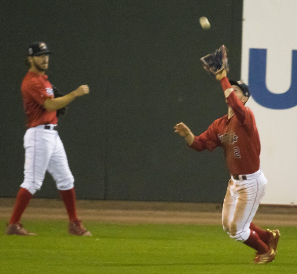 Outfielder Danny Mars of the Portland Sea Dogs has his eyes on the ball and prepares to make the catch Friday night during the fifth inning of the 8-1 loss to the Altoona Curve at Hadlock Field.