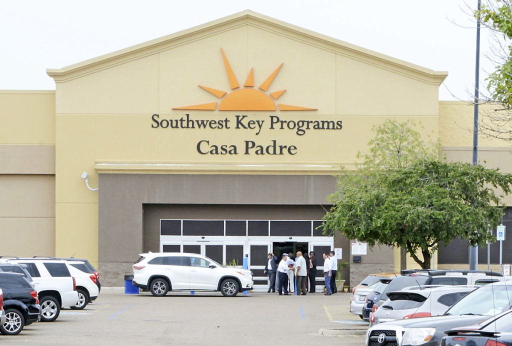Dignitaries take a tour of Southwest Key Programs Casa Padre, a U.S. immigration facility in Brownsville, Texas, where children were detained in June.