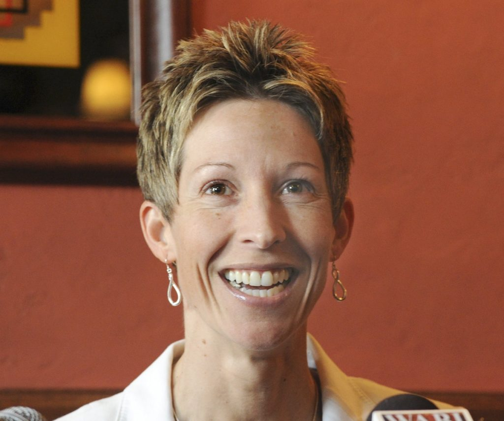 John Patriquin/Staff Photographer:Thursday, March.31, 2011. Cindy Blodgett holds a press conference at Patty Murphy's restaurant in Bangor about her firing as women's basketball coach at the University of Maine.