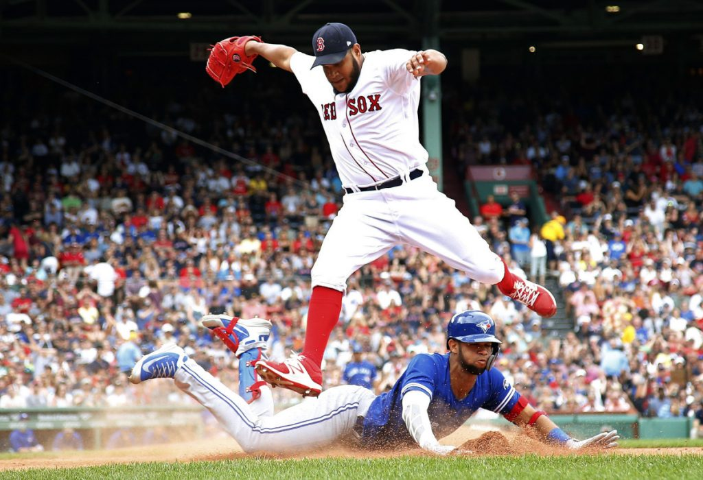 Red Sox pitcher Eduardo Rodriguez avoided Lourdes Gurriel Jr. of the Blue Jays on a play at first base on July 14, but couldn't avoid the right ankle injury the play produced. He's been out ever since. Now he's heading to a rehab start, which just could be Monday in Portland.