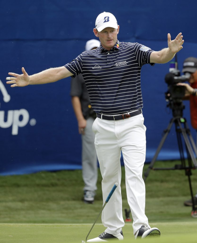 Brandt Snedeker celebrates as he makes a birdie putt on the 18th hole to finish off his victory Sunday in the Wyndham Championship in Greensboro, N.C. Snedeker shot a 5-under 65 in the final round to finish at 21 under, three shots better than C.T. Pan and Webb Simpson.