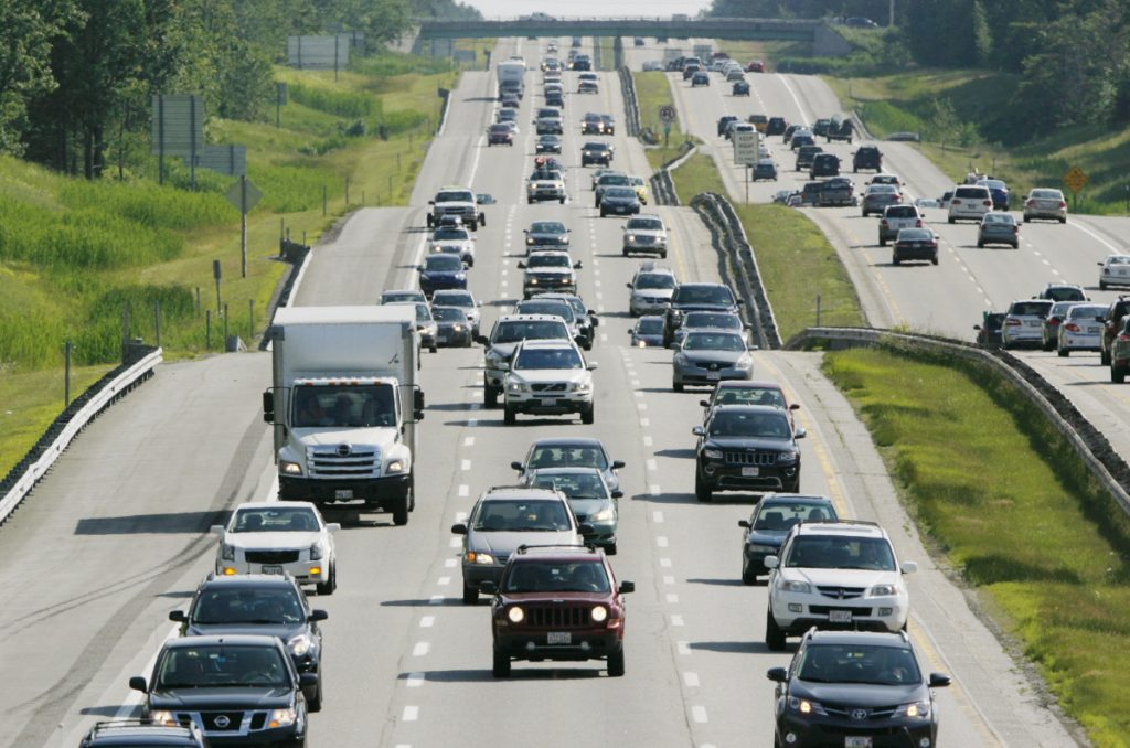 Traffic travels along Interstate 95 in Scarborough in July 2015. In Maine, I-95 stretches about 310 miles from the New Hampshire border to the Canadian border near Houlton and includes the roughly 110-mile Maine Turnpike.