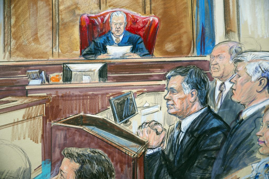 This courtroom sketch shows Paul Manafort listening to U.S. District court Judge T.S. Ellis III at federal court in Alexandria, Va., on Tuesday. Manafort was the lone American charged so far by Mueller to opt for trial instead of cooperating.