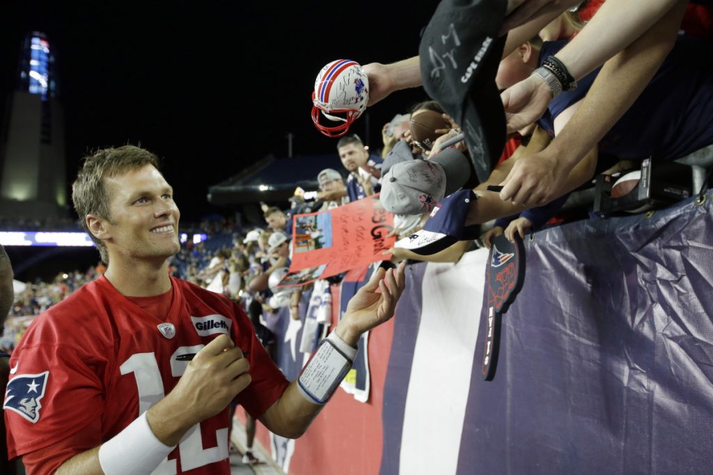 Patriots quarterback Tom Brady is hoping to improve his chemistry with his receivers in Friday's next-to-last  preseason game against the Panthers at Charlotte, N.C.