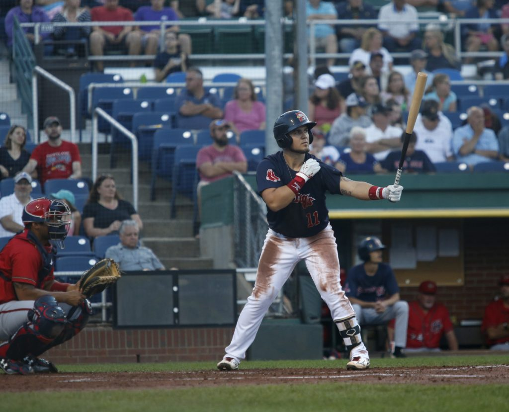 Michael Chavis is heading to Triple-A Pawtucket after batting .303 with six home runs with the Sea Dogs this summer. (Photo by Derek Davis/Staff Photographer)