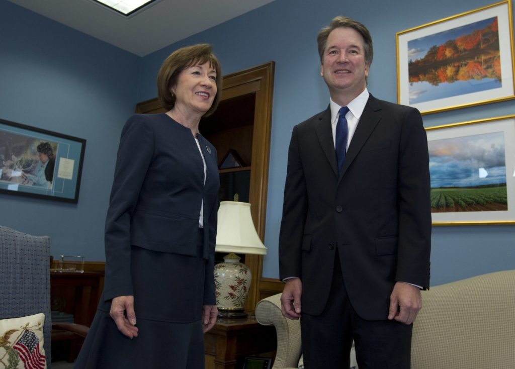 Sen. Susan Collins met with Supreme Court nominee Brett Kavanaugh at her office in August. Kavanaugh's confirmation hearings begin Monday.