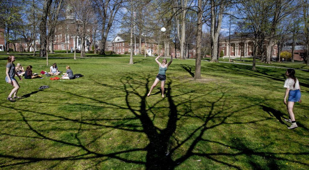 "Bates College students play on the Quad at the Lewiston campus in 2016. Despite the large number of students who make up the Class of 2022, it represents ""the most selective class"" Bates has had, dean of admission and financial aid Leigh Weisenburger said in a prepared statement on Friday."