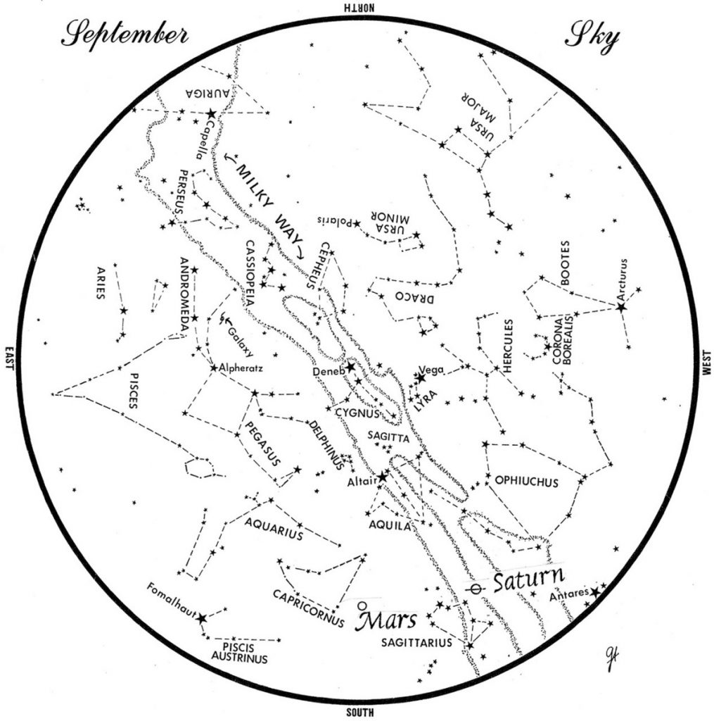 SKY GUIDE: This chart represents the sky as it appears over Maine during September. The stars are shown as they appear at 10:30 p.m. early in the month, at 9:30 p.m. at midmonth and at 8:30 p.m. at month's end. To use the map, hold it vertically and turn it so that the direction you are facing is at the bottom.